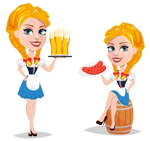 Oktoberfest. redhead girl cartoon character Premium Vector