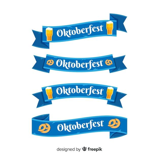 Oktoberfest ribbon collection Free Vector