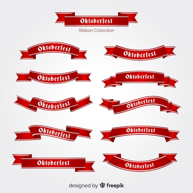Oktoberfest ribbons collection in flat design Free Vector