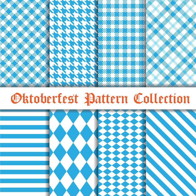 Oktoberfest seamless pattern collection Premium Vector