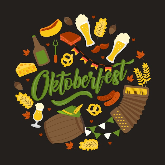 Oktoberfest. traditional german festival. fresh dark beer, pretzel, sausage, autumn leaf, flag, accordion, beer and flag Premium Vector