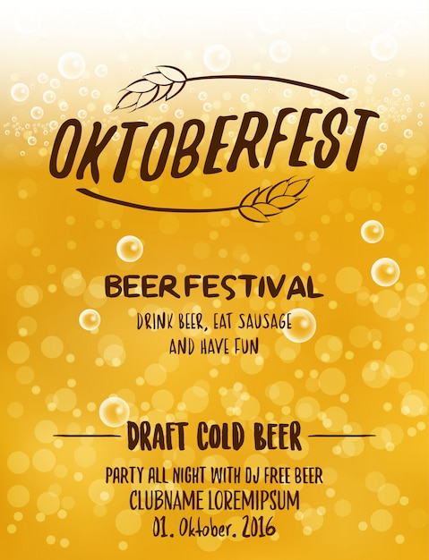 Oktoberfest Typographic Poster Design For Beer Festival Party Premium Vector