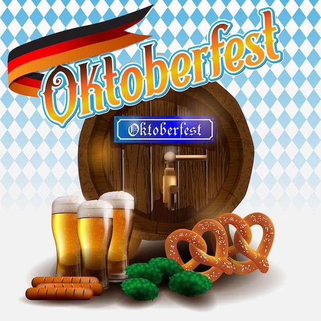 Oktoberfest vector illustration on blue white background. Premium Vector