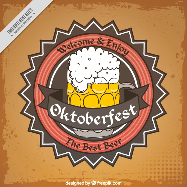 Oktoberfest vintage background  with beer badge