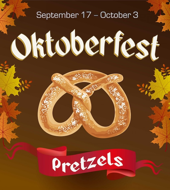 Oktoberfest vintage poster with pretzels and autumn leaves on dark background. octoberfest banner. Premium Vector