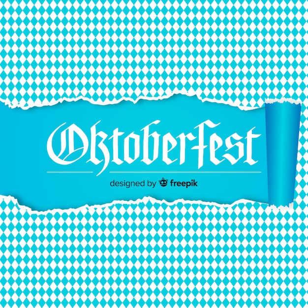 Oktoberfest white and blue background with ripped paper Free Vector