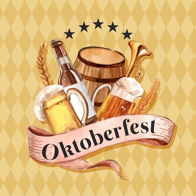 Oktoberfest with beer, beverage, brewery, barley, alcohol design Free Vector