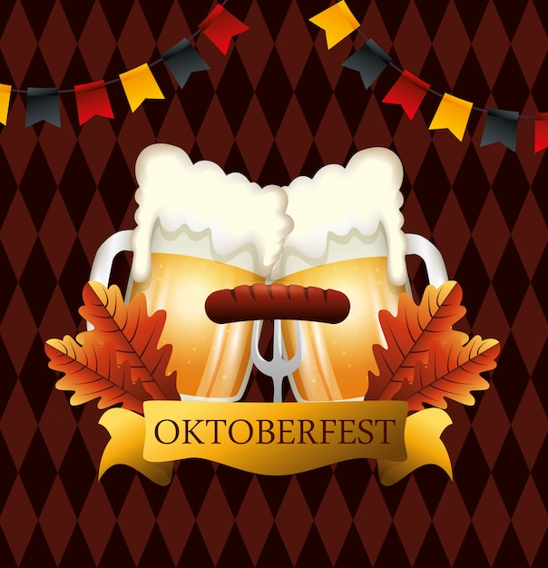 Oktoberfest with beers and sausage illustration Free Vector