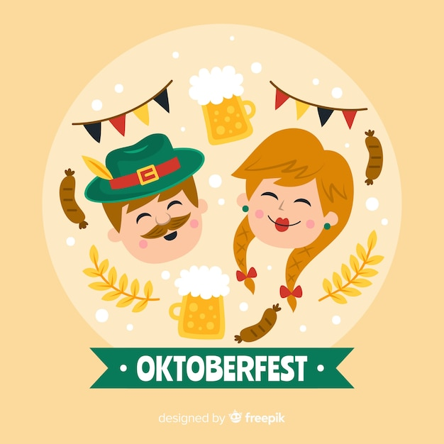 Oktoberfest woman and man laughing Free Vector