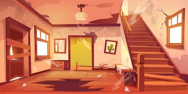昼間の古い放棄された家の廊下 無料ベクター