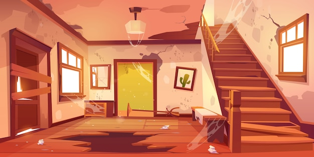 Old abandoned house hallway at daytime Free Vector