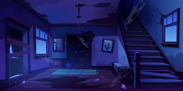Old abandoned house hallway at night Free Vector