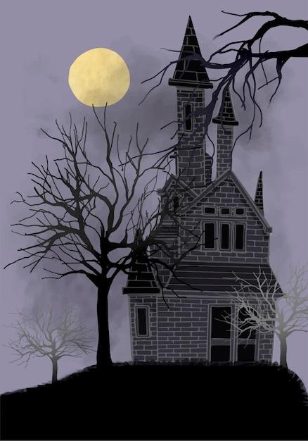 Old abandoned house illustration Vector | Free Download