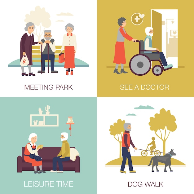 Old age people design concept 2x2 Free Vector