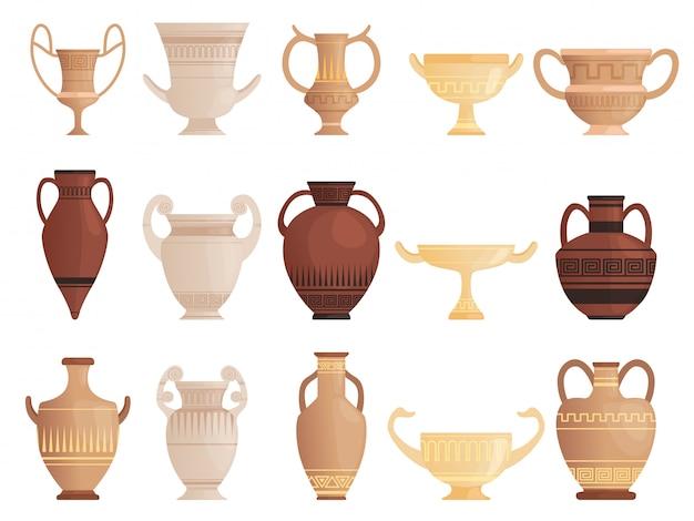 Старый древний сосуд. глиняные кувшины с чашками и амфоры с рисунком керамики античный кувшин векторные картинки Premium векторы