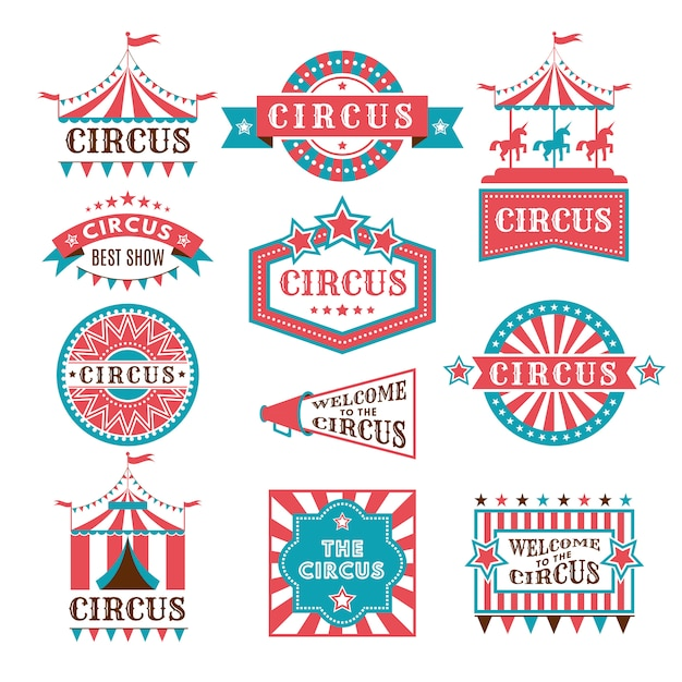 Old badges and labels for carnival and circus show invitation. Premium Vector
