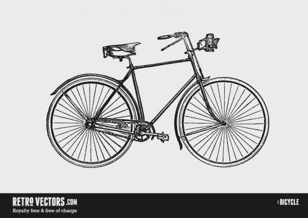 Old bicycle with a lamp hand drawn