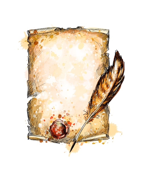 Old blank scroll paper and feather pen from a splash of watercolor, hand drawn sketch.  illustration of paints Premium Vector