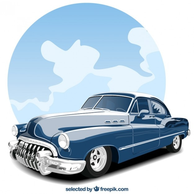 Old blue car Free Vector