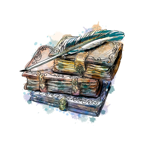 Old books stack and pen from a splash of watercolor, hand drawn sketch.  illustration of paints Premium Vector