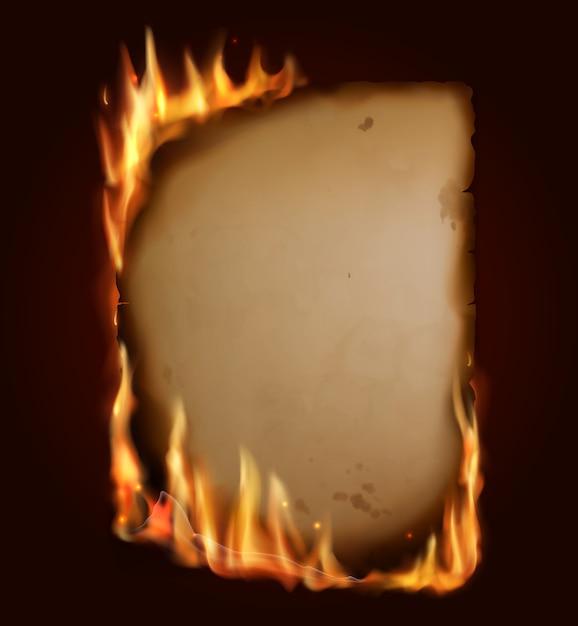 Старая горящая бумага, сжечь разорванную страницу пергамента реалистичным огнем, искрами и углями. пустая вертикальная горящая карта, шаблон для старинного письма, старинный свиток, изолированная пылающая рамка Premium векторы