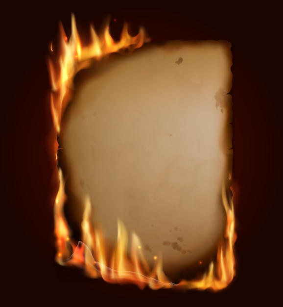 Old burning paper,  burn parchment torn page with realistic fire, sparks and embers.  blank vertical conflagrant card, template for antique letter, vintage scroll, isolated flaming frame Premium Vector
