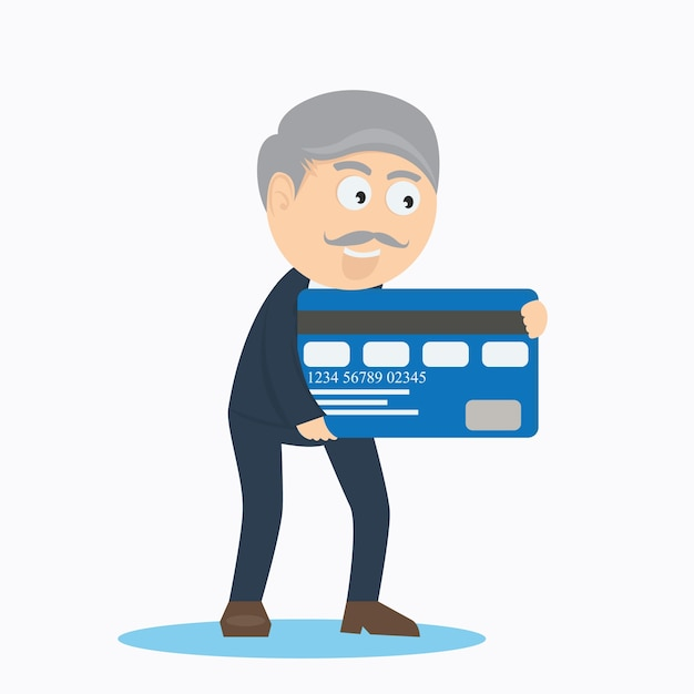 old businessman character with credit card cartoon vector design