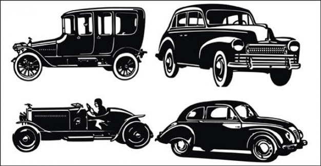 Old car and jeep silhouettes Free Vector