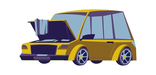 開いたフード、漫画分離ベクトルアイコンと古い車のセダン 無料ベクター