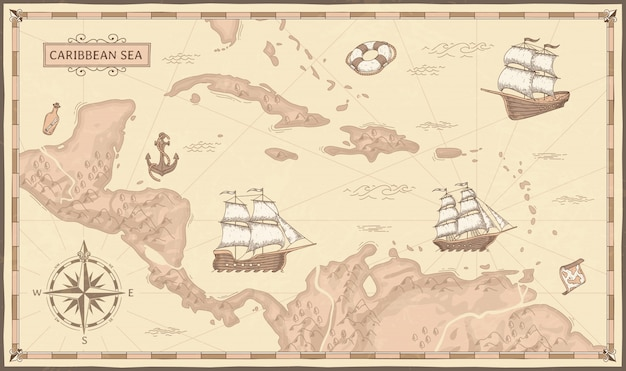 Old caribbean sea map. ancient pirate routes, fantasy sea pirates ships and vintage pirate maps   illustration Premium Vector