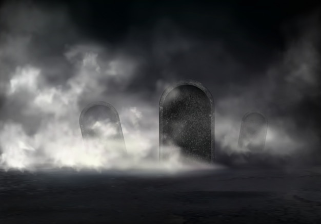 Old cemetery at night realistic vector with sloping gravestones covered thick fog in darkness illust Free Vector