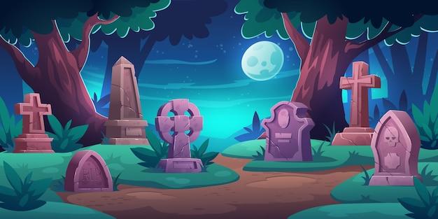 기념 묘비가있는 오래된 묘지 무료 벡터