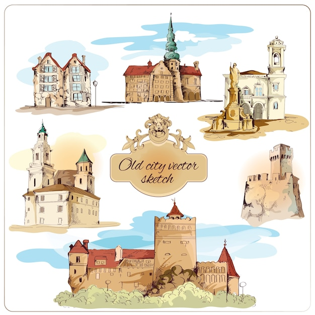 Old city buildings colored sketch decorative elements set isolated vector illustration