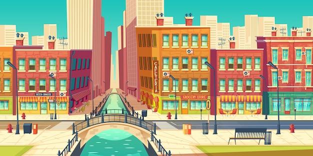 Old city district in modern metropolis cartoon Free Vector