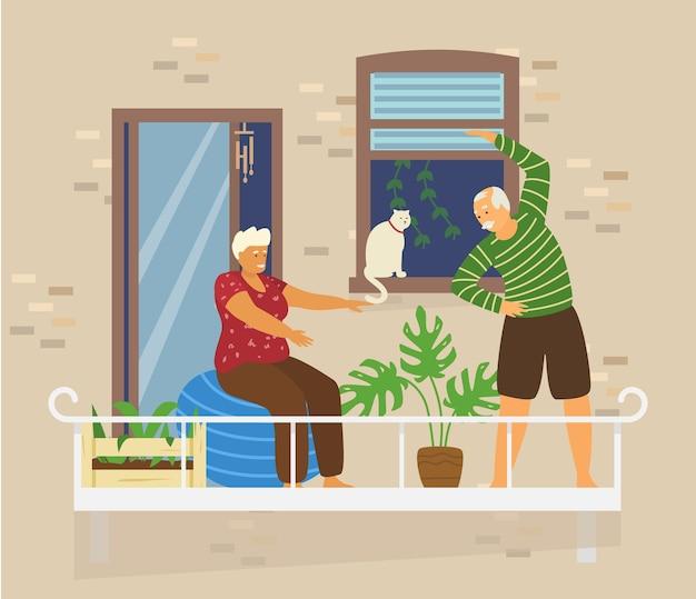 猫と植物のある居心地の良いバルコニーでエクササイズをしている老夫婦。れんが造りの家の外観。ホームアクティビティ。家にいるコンセプト。平らな Premiumベクター