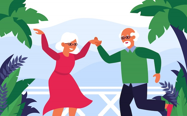 Old couple enjoying vacation and dancing Free Vector