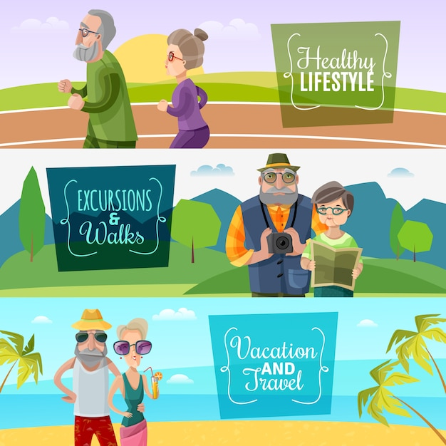 Old couple horizontal banners Free Vector