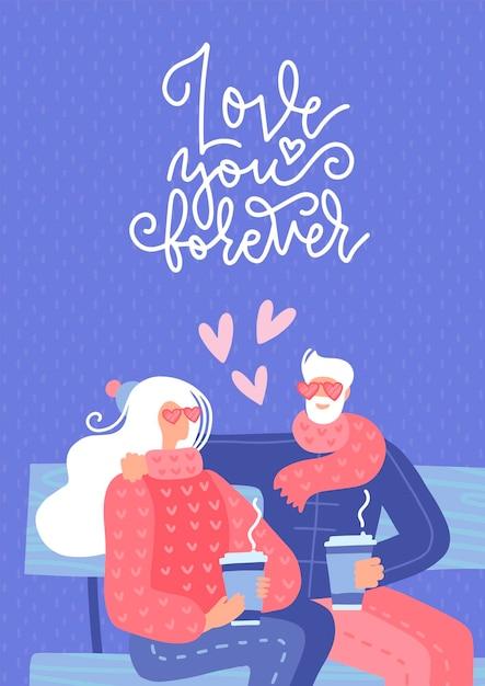 ベンチに座って恋に老夫婦 Premiumベクター