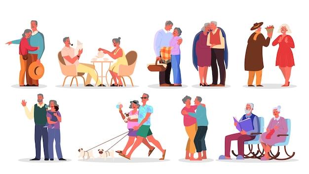 Старый набор пары. пожилые люди проводят время вместе и с семьей. женщина и мужчина на пенсии. счастливые дедушка и бабушка дома и на улице. Premium векторы