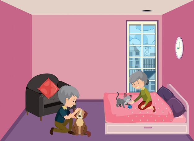 Old couple staying at home Premium Vector