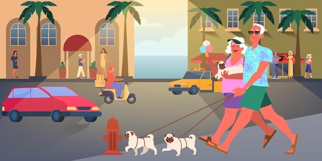 老夫婦は一緒に旅行します。引退の女と男。幸せな祖父と祖母の散歩犬。図 Premiumベクター