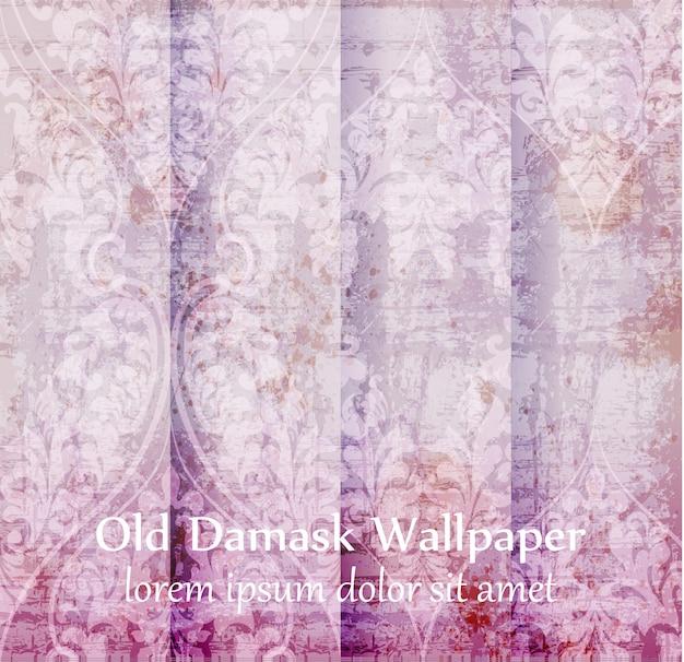Old damask ornament background set Premium Vector