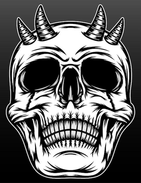 블랙에 고립 된 경적을 가진 오래 된 악마 두개골 프리미엄 벡터