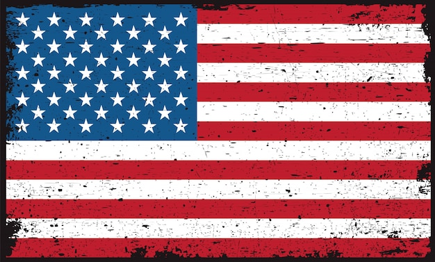 Old dirty american flag Premium Vector