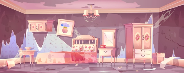 Old dirty bedroom in shabby chic style Free Vector