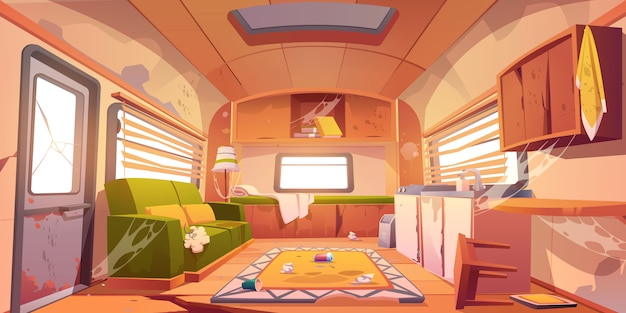 Old dirty interior of camper with broken furniture Free Vector