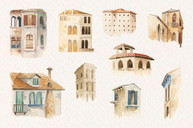 수채화 스타일의 오래 된 유럽 건축 컬렉션 무료 벡터