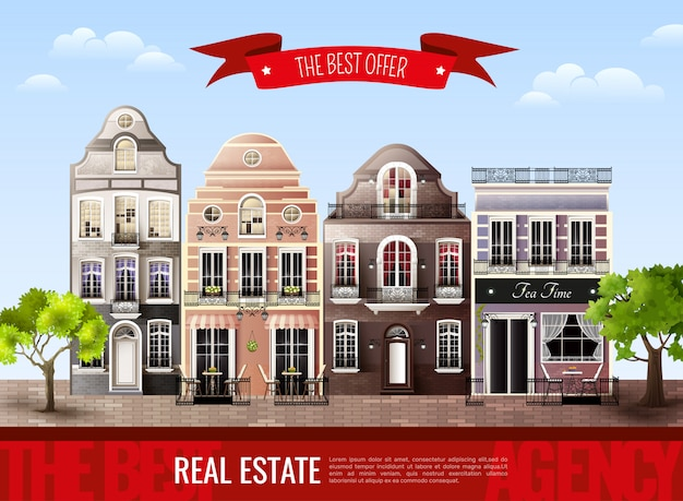 Old european houses poster Free Vector