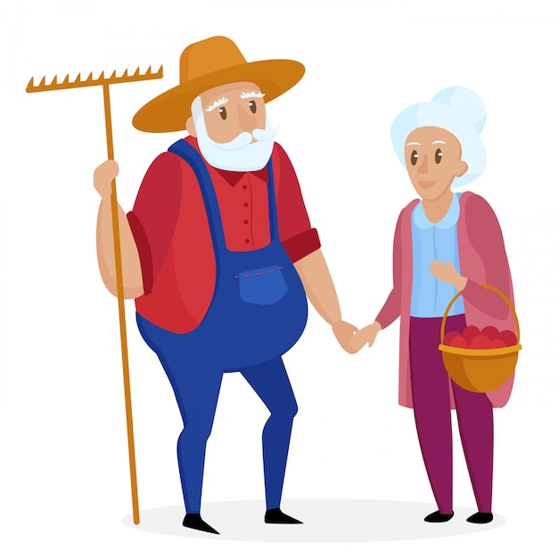 Old farmer with his wife. elderly couple. senior grandpa and grandma standing. vector cartoon illustration. Premium Vector