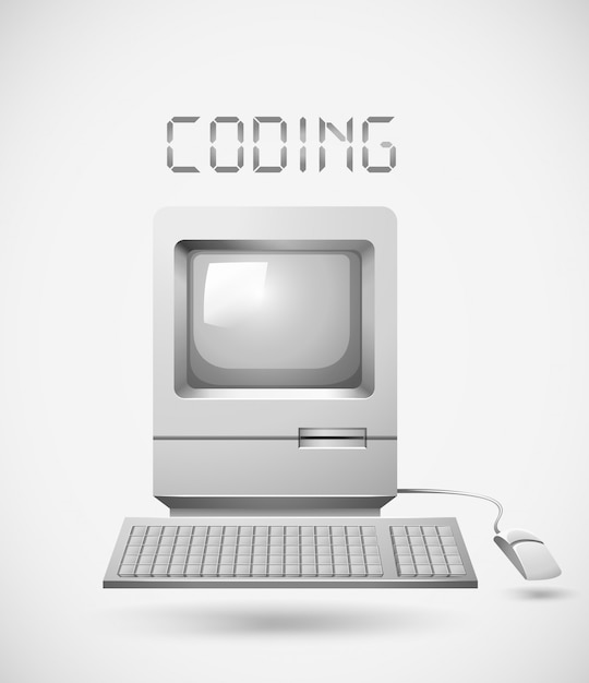 Old fashioned computer with word coding Free Vector